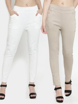 Plain Camel and White Combo of 2 Jeggings