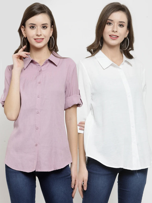 Women Plain Dusty Pink And White Combo Of 2 Collar Shirt