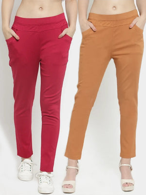 Plain Maroon and Rust Combo of 2 Jeggings