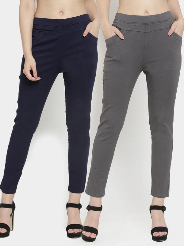 Women Plain Navy Blue And Grey Combo Of  2 Mid-Rise Jegging