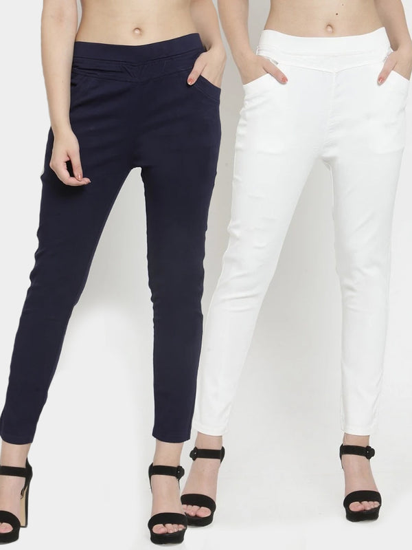 Women Plain Navy And White Combo Of 2 Mid-Rise Jegging