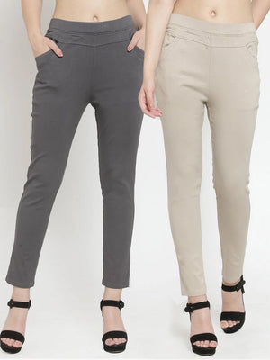 Plain Grey and Camel Combo of 2 Jeggings