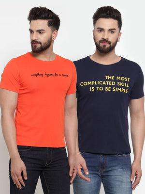 Mens Printed Orange and Navy Combo of 2 T-Shirts