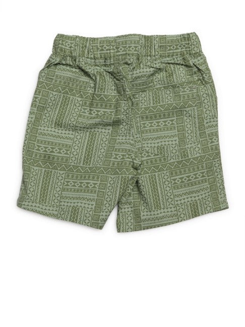 Kids Printed Olive Green Shorts