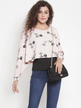 Women Pink Printed Top With Layering