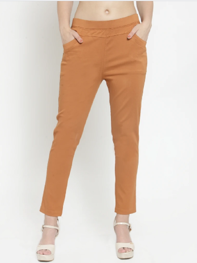 Women Plain Rust Stretchable Jegging