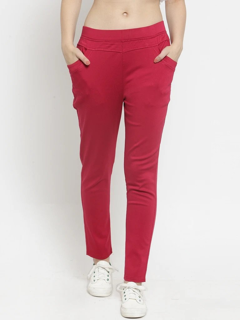 Plain Maroon and White Combo of 2 Jeggings