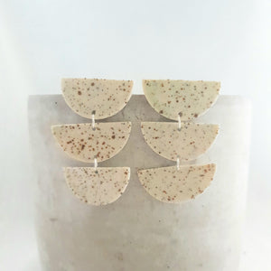 speckled clay  | chandelier drops | clear glaze - reduction fired