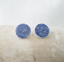 Load image into Gallery viewer, tiny electric blue dots on salt white | large circles | studs
