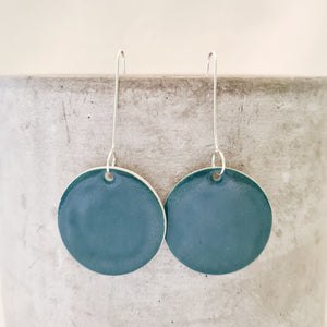 jade green | large circle | long drop earring
