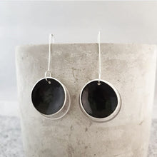 Load image into Gallery viewer, jet black | concave circle | silver ring | earrings