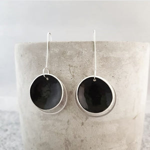 jet black | concave circle | silver ring | earrings