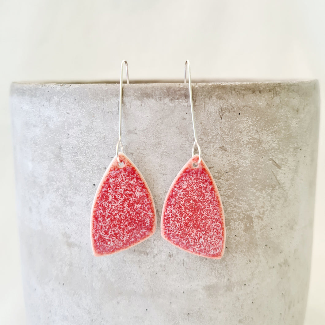coral pink | asymmetrical triangle | earrings