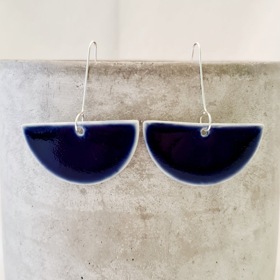electric blue | large semi-circle | drop earrings