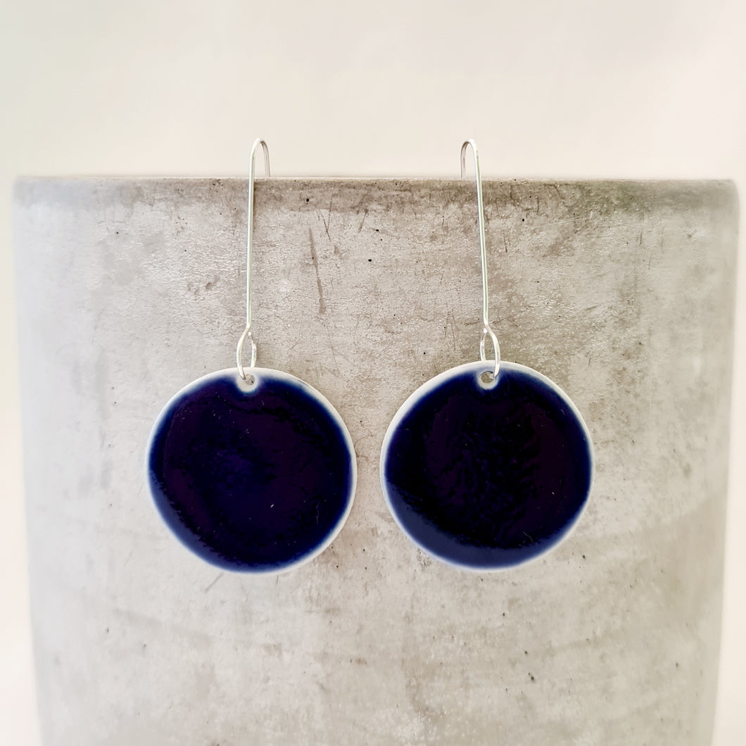 electric blue | large circle | long drop earring