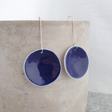 Load image into Gallery viewer, electric blue | concave circle | large | earrings