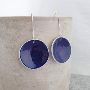 electric blue | concave circle | large | earrings