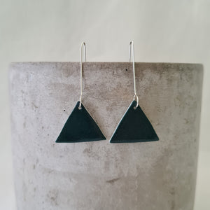 emerald green | triangle | long drops | earrings