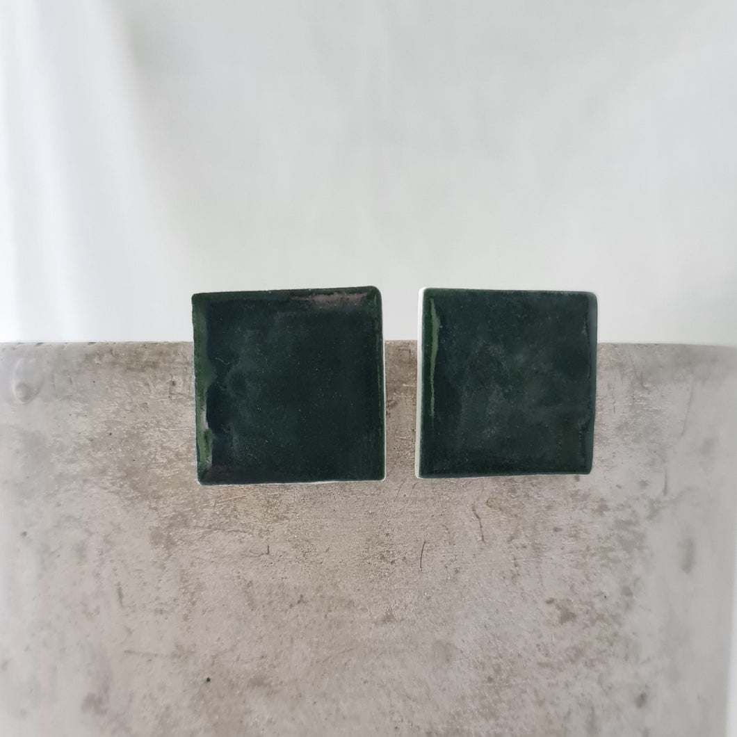 emerald green | large square | studs