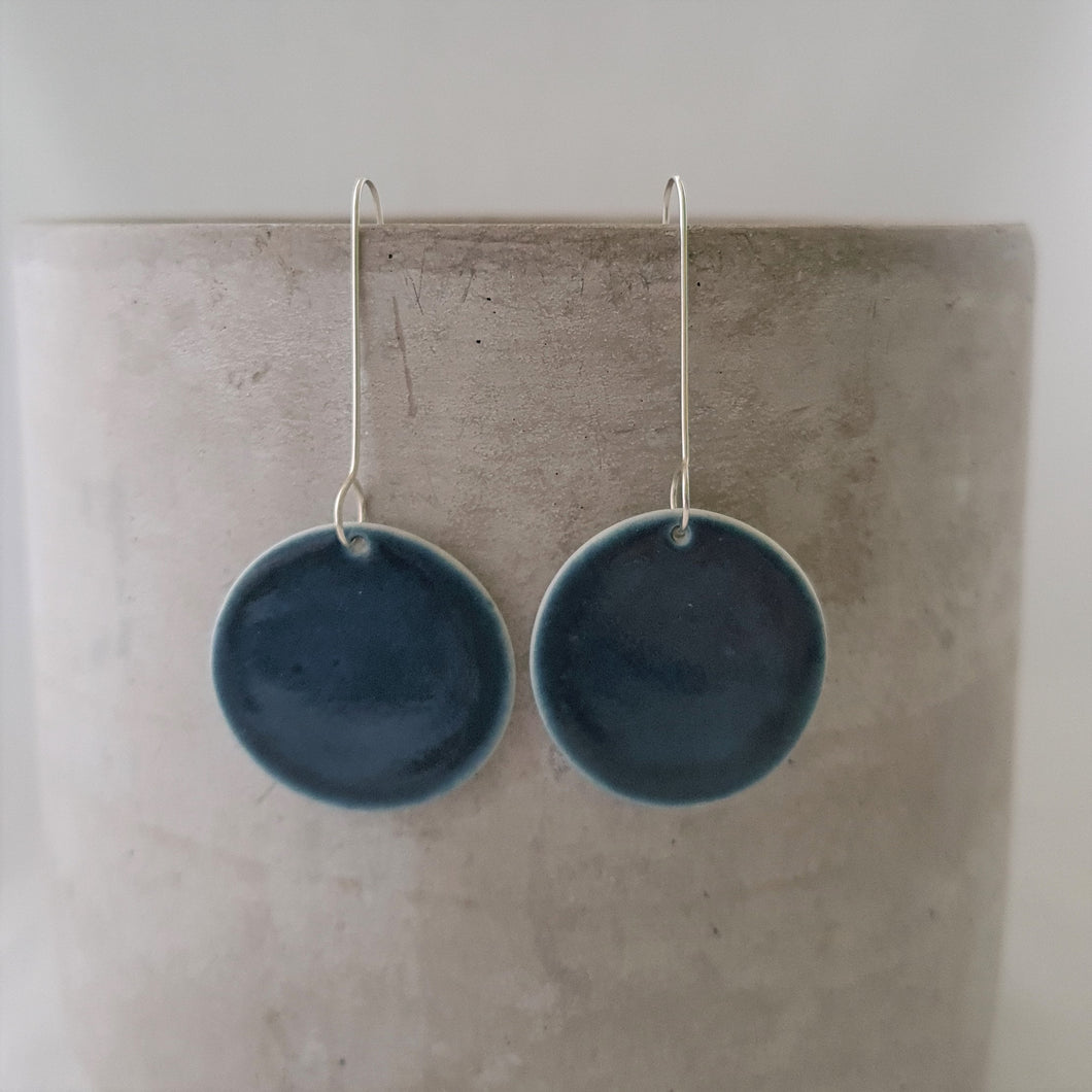 ink blue | large circle | long drop | earrings