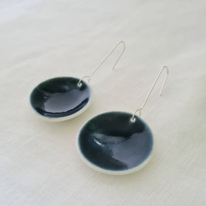 ink blue | concave circle | large | earrings