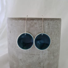 Load image into Gallery viewer, ink blue | concave circle | large | earrings