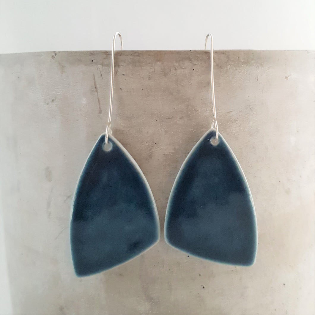 ink blue | asymmetrical triangle | large | earrings