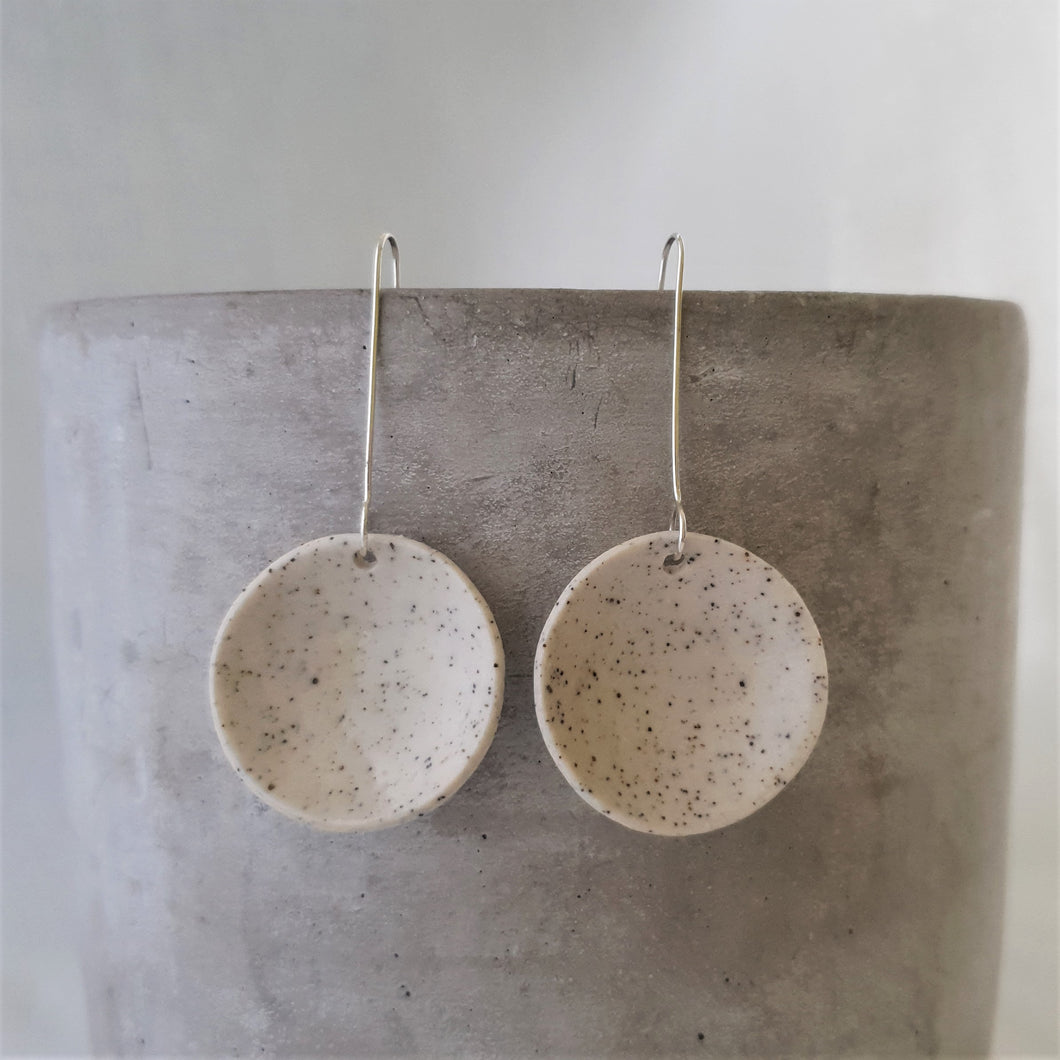 speckled clay | concave circle | large | earrings