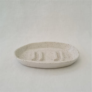 speckled stoneware | solid base + lo sides | soap dish