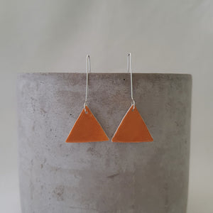 mustard yellow | triangle | long drops | earrings