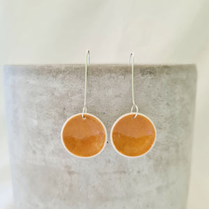 mustard yellow | small concave circle | earrings
