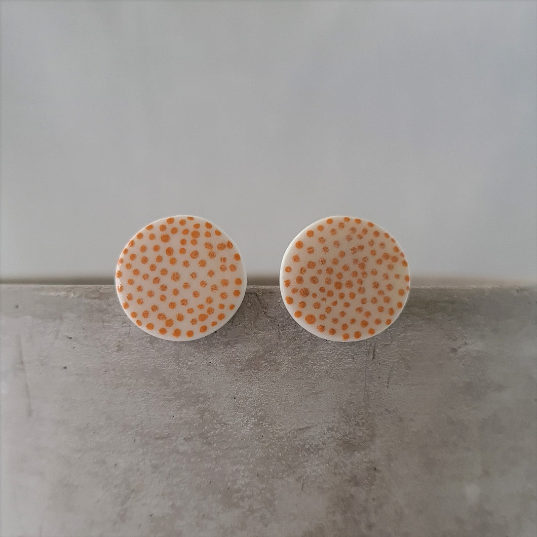 mustard yellow dots on salt white | circles | studs
