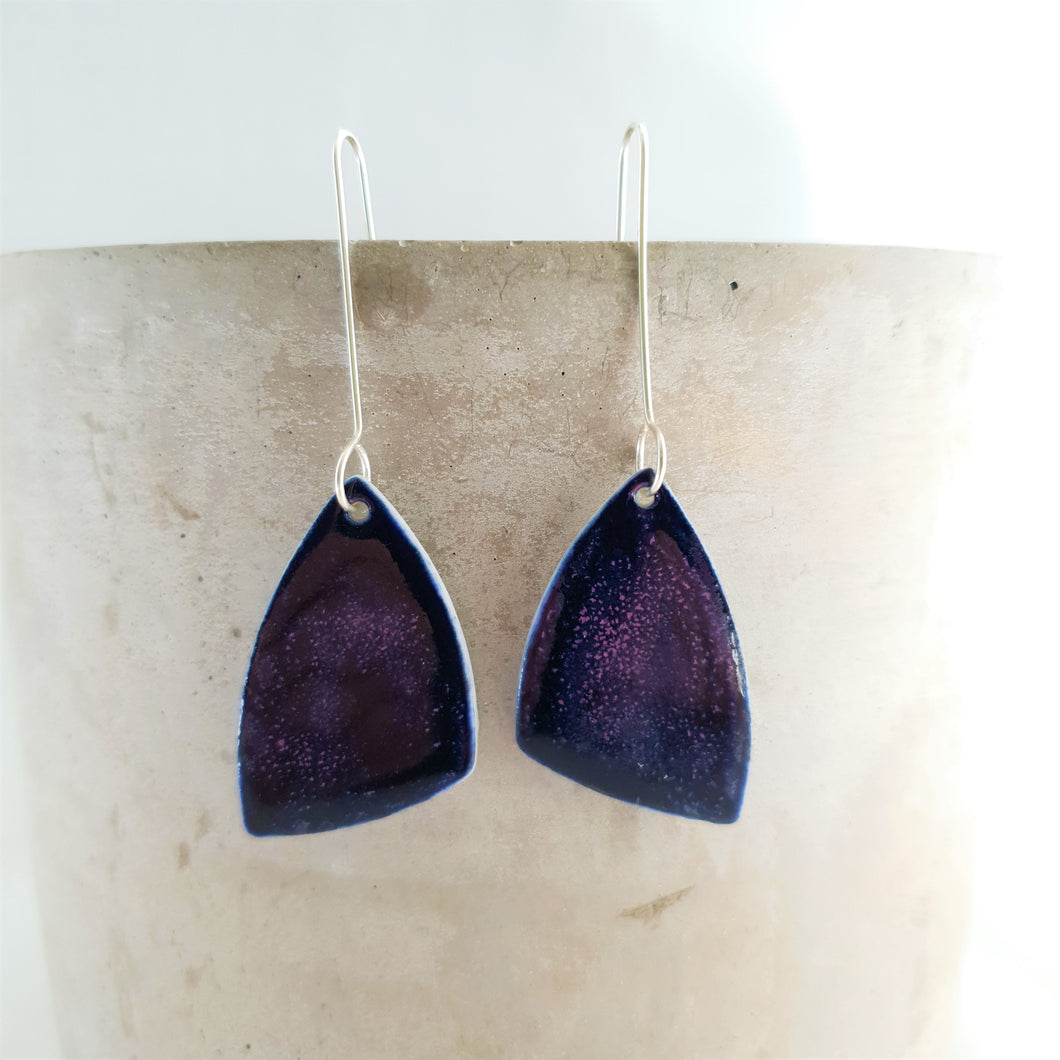 night sky navy | asymmetrical triangle | earrings