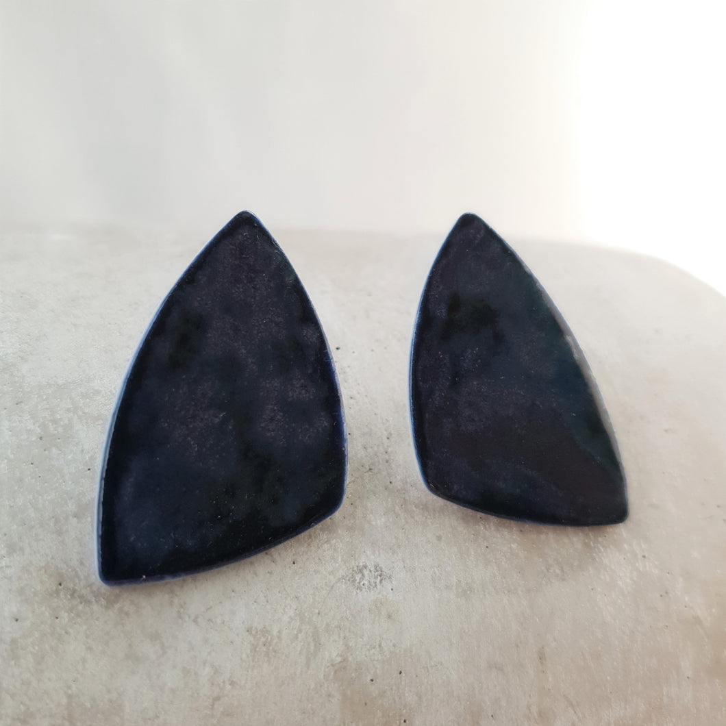 night sky navy | asymmetrical triangles | large studs