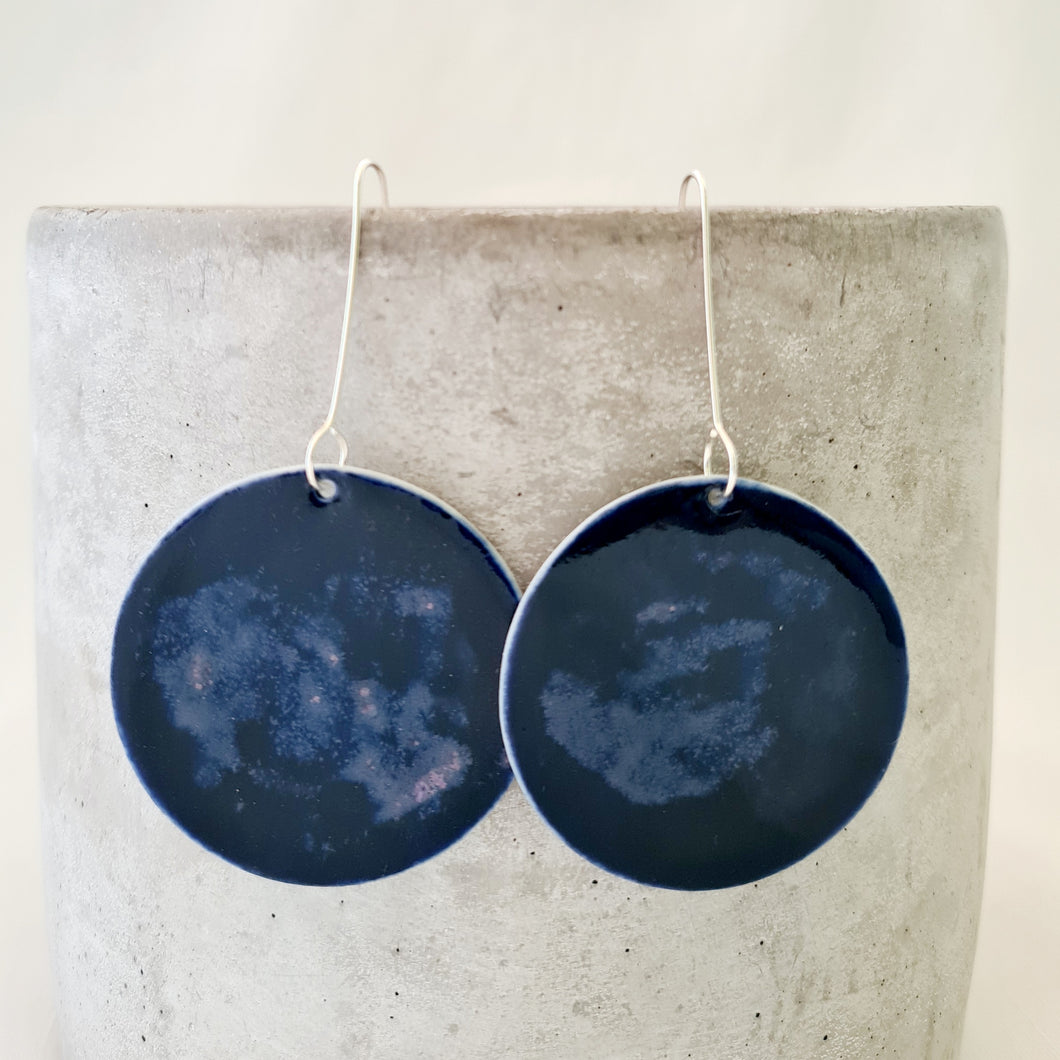night sky navy | large circle disc | earrings