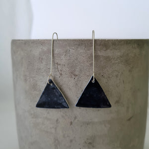 night sky navy | triangle | long drops | earrings