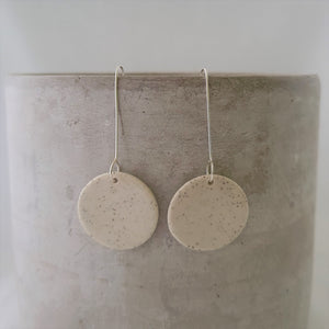 speckled clay with clear glaze | circle | earrings
