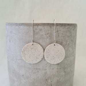 speckled clay | salt white glaze | large circle | earrings