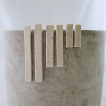 Load image into Gallery viewer, speckled clay | salt white glaze | long thin column | studs