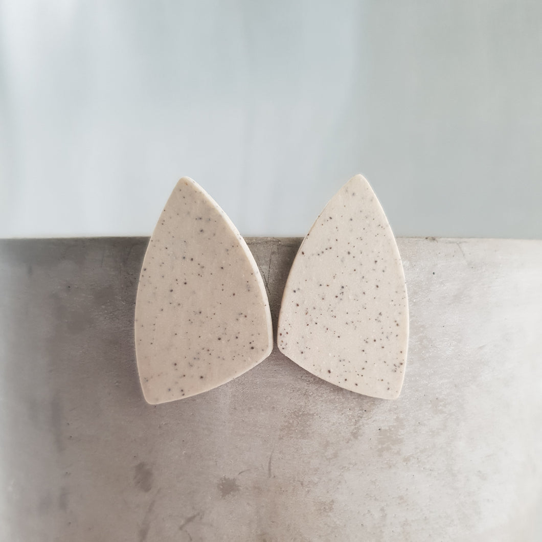 speckled clay studs | asymmetrical triangle | matte polished