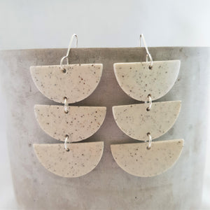 speckled clay | chandelier drops | clear glaze