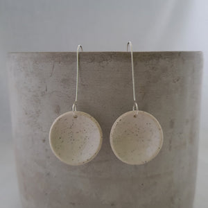 speckled clay | salt white glaze | large concave circle | earrings