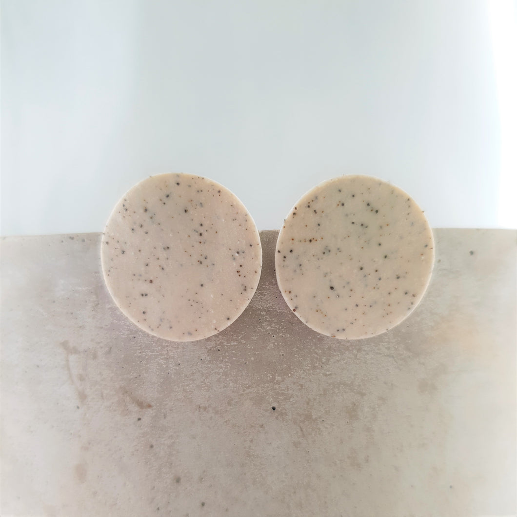 speckled clay | circle | clear matte glaze | small studs