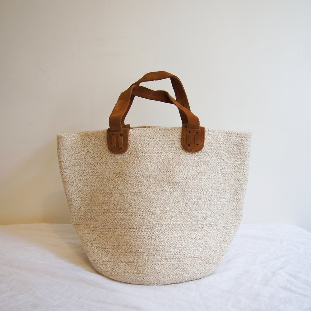 Jute basket with suede handles-Home & Living, Jars & Bags-SproutTheGrocer