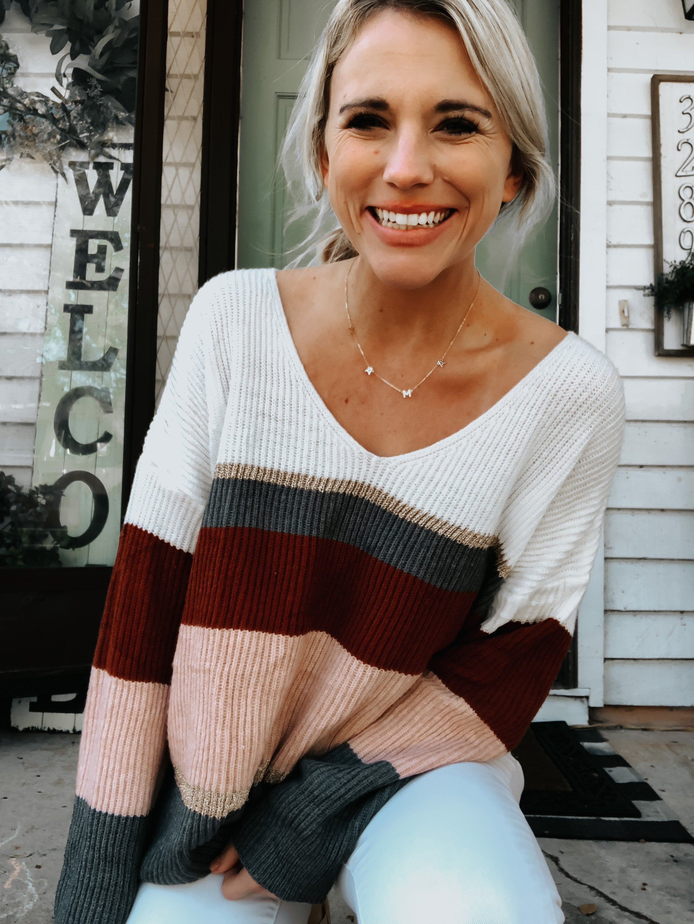 Golden Ribbed Slouchy Sweater