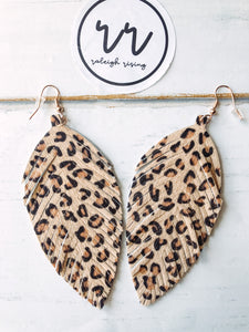 Leather Leopard Dangles