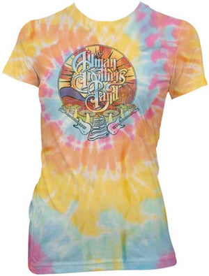 Allman Brothers Band Mushroom Sprial Tie Dye Ladies T-Shirt