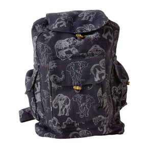 Black Backpack with White Elephants