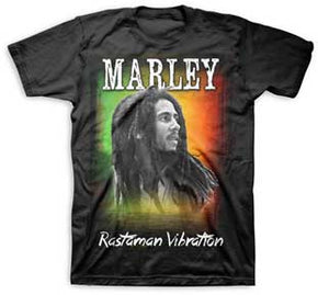 Bob Marley Rastaman Vibration Sunset Black T-Shirt