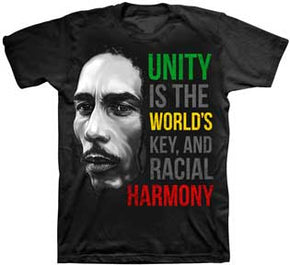 Bob Marley Unity is World's Key Black T-Shirt